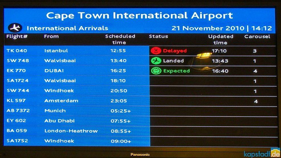international arrivals monitor