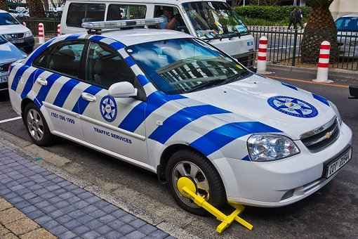 wheel clamped police car